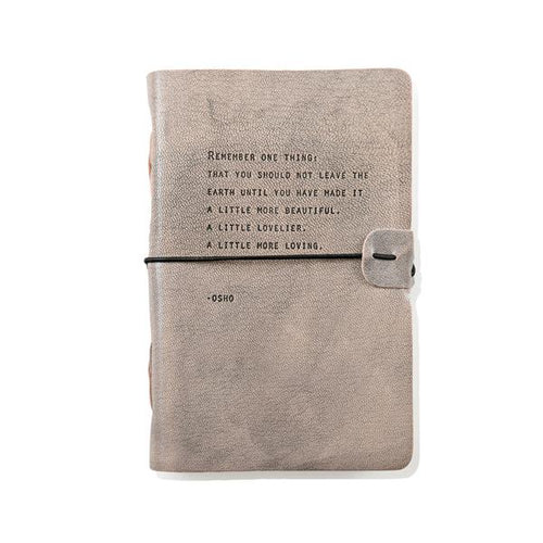 Grey Leather Journal - Osho Quote