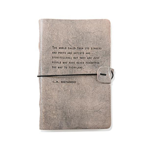 Grey Leather Journal - L.M. Montgomery Quote