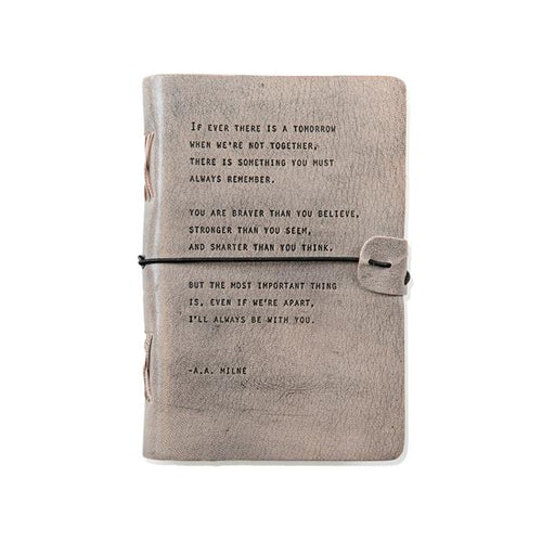 Grey Leather Journal - A.A. Milne Quote