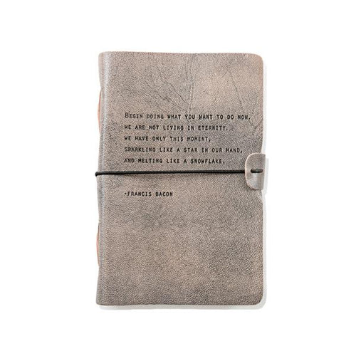 Grey Leather Journal - Francis Bacone Quote