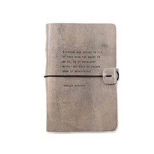 Grey Leather Journal - Amelia Earhart Quote