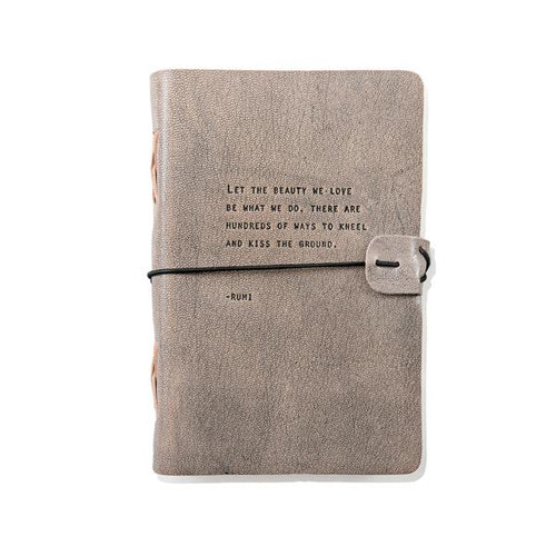 Grey Leather Journal - Rumi Quote