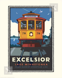 Lake Minnetonka Excelsior Trolley - Landmark Series Print
