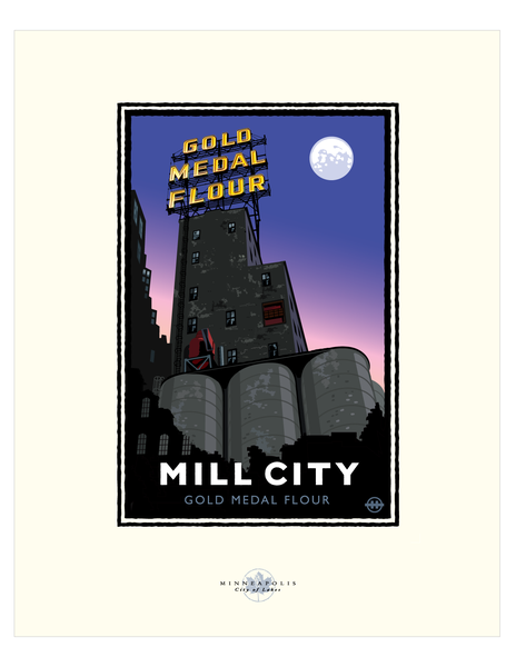 Mill City Museum Night - Landmark Series Card