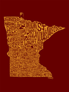 Minnesota Counties Postcard