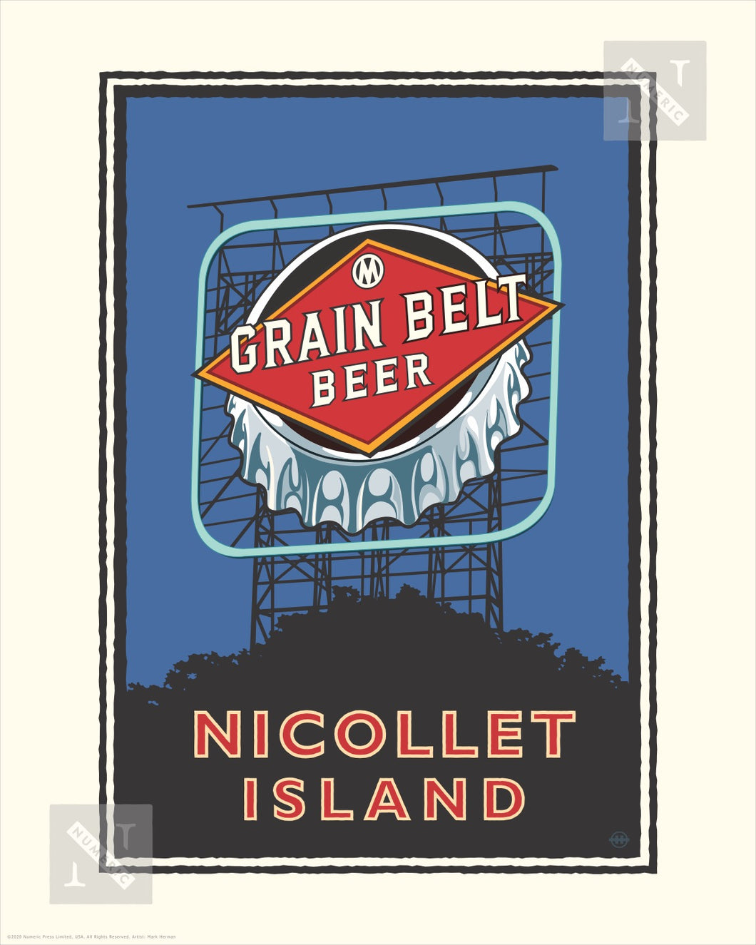 Nicollet Island Grain Belt Bridge - Landmark Series Print