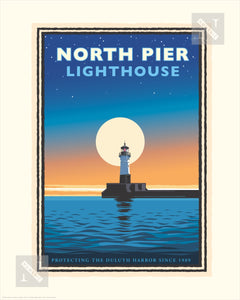 Lake Superior North Pier Lighthouse - Landmark Series Print