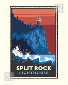 Split Rock Lighthouse Red Weather North Shore - Landmark Series Print