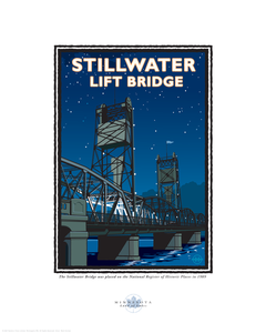 Stillwater Lift Bridge Night - Landmark Series Card