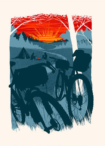 Sunset Bike Camping Postcard