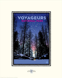 National Parks Voyageurs Winter Fire - Landmark Series Print