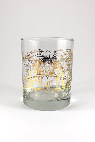 Gold Foil Skyline Whiskey Glass