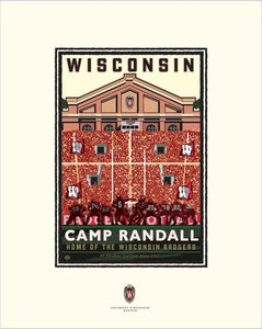 "UW-Madison Badgers ""Camp Randall On Field"" - Landmark University Series Print"