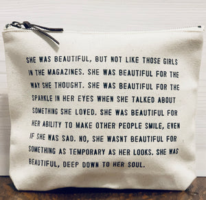 """Beautiful"" Canvas Zip Bag"