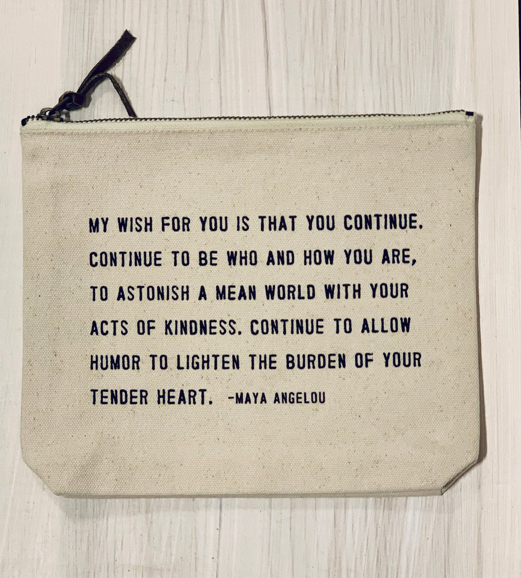 Maya Angelou Canvas Zip Bag