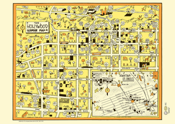 1940s Hollywood Map Poster