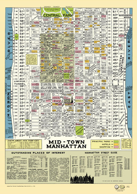 1950s Manhattan Map