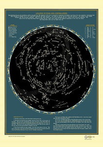 1930s Stars + Constellation Map Poster