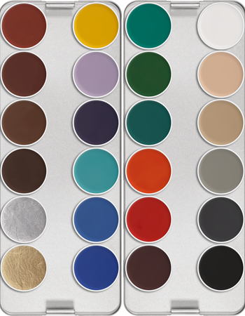Kryolan Aquacolor Palette 24 Colours 01108/00