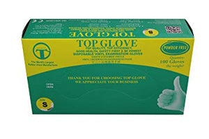 Top Gloves Powder Free Disposable Vinyl Gloves Pk Of 100