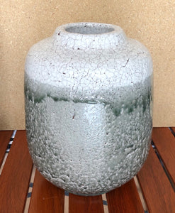 White & Grey Handcrafted Ceramic Crackle Vase Large Round