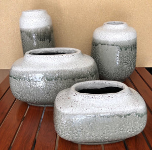 White & Grey Handcrafted Ceramic Crackle Vase 2