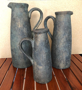 Large Weathered Handcrafted Grey Ceramic Pitcher Vase Set of 3