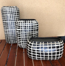 Load image into Gallery viewer, Black Checkered Handcrafted Ceramic Vases Set of 3