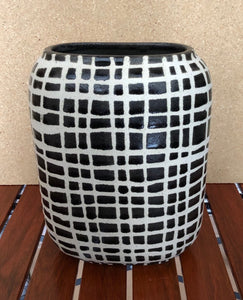 Black Checkered Handcrafted Ceramic Vases Set of 3