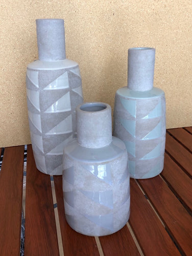 Blue & Grey Handcrafted Ceramic Vases Set of 3