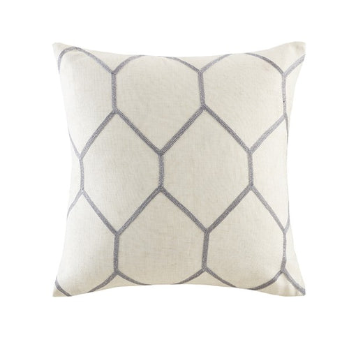 Brooklyn Metallic Geo Embroidered Pillow Grey