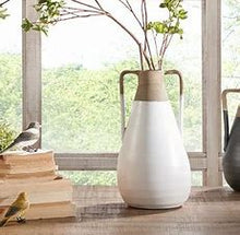 Load image into Gallery viewer, Lima White & Brown Terracotta Vase with Handles