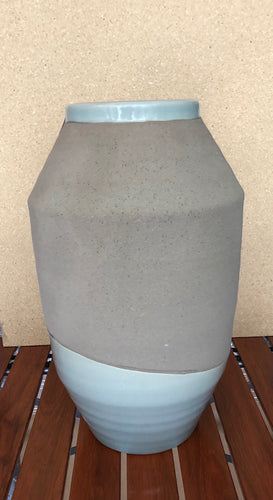 Large Handcrafted Blue & Brown Ceramic Vase