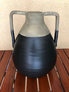 Lima Handmade Brown & Black Terracotta Vase with Handles