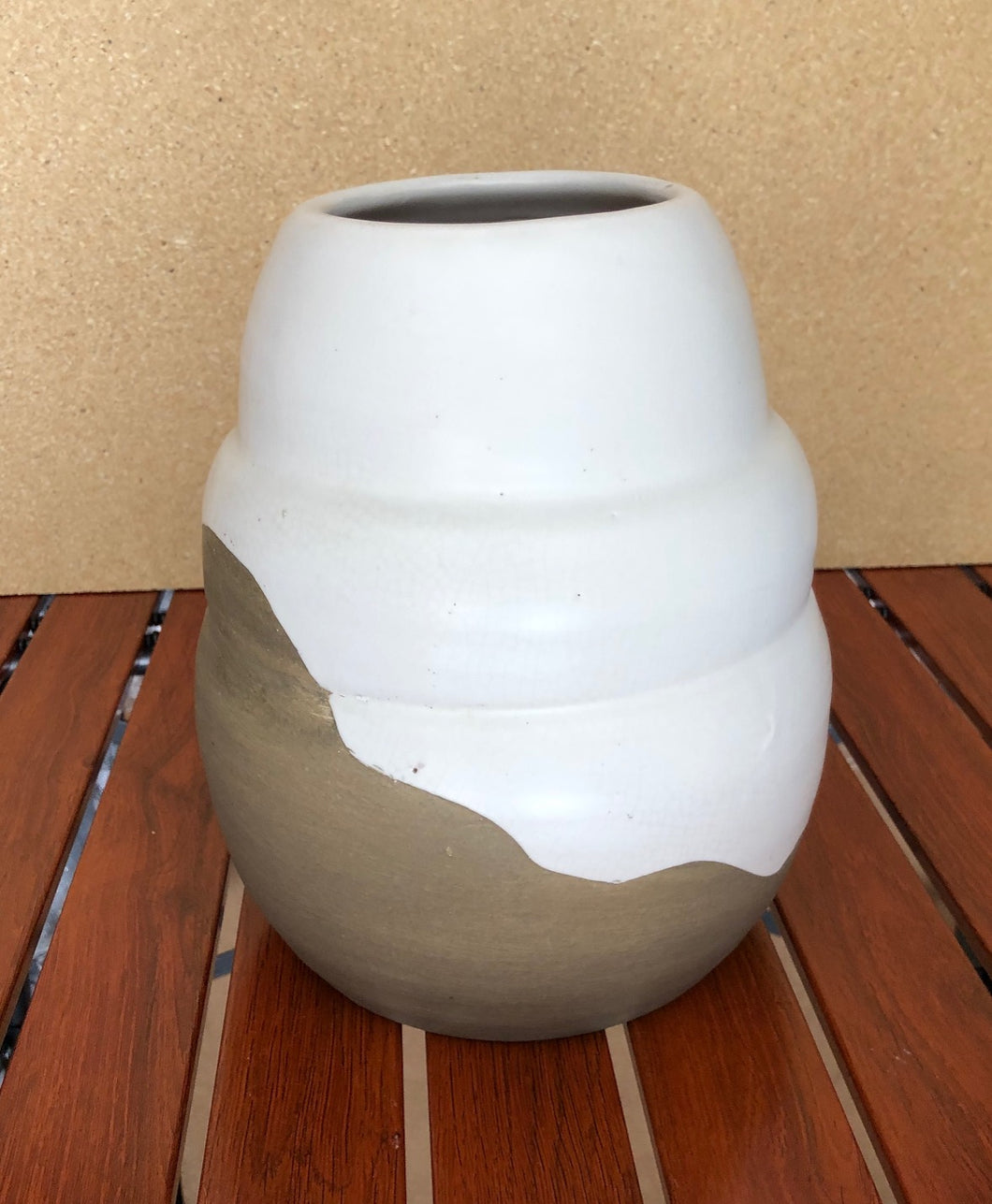 Lima Handmade White & Brown Terracotta Vase