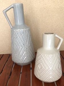Diamond Cream Handcrafted Ceramic Vase