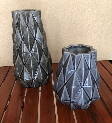 Dark Grey & Light Grey Handcrafted Vases Set of 2
