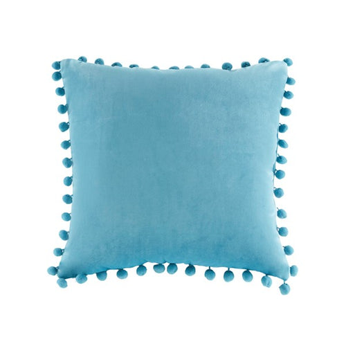 Juni Pom Pom Square Pillow Aqua