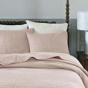 Serene Cotton Hand Quilted Blush Coverlet Set