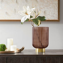 Load image into Gallery viewer, Serene Brown Glass Vase Large