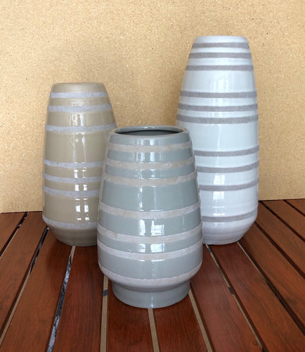 Taupe Striped Ceramic Vase Set of 3