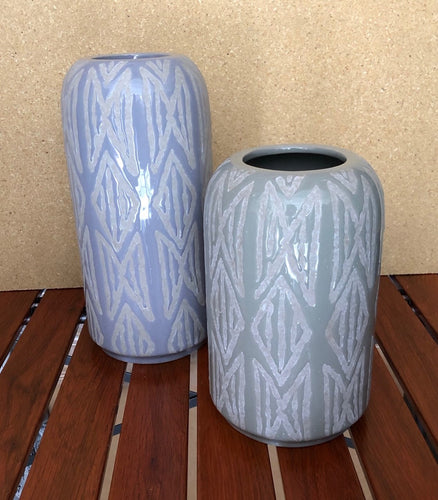 Grey & Blue Handcrafted Geometric Vases Set of 2