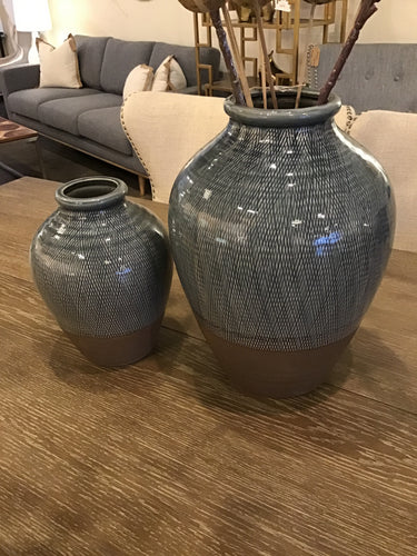 Blue and Brown Diamond Handcrafted Large Ceramic Vases Set of 2