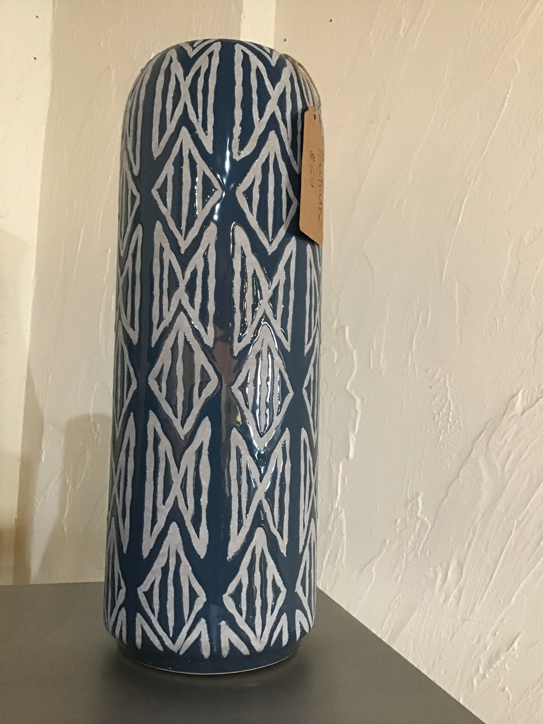 Blue Handmade Geometric Tall Vase
