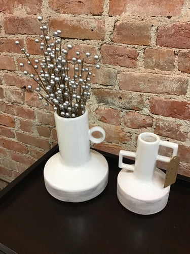 White & Brown Handcrafted Ceramic Vases Set of 2