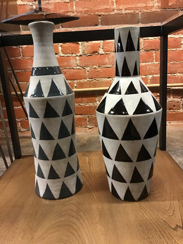 Tall Black & Grey Handcrafted Ceramic Geometric Vases Set of 2