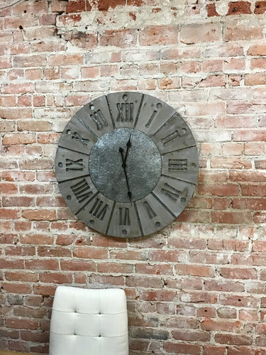 Large Metal and Wood Clock