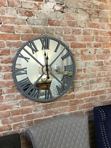 Large Metal and Mirror Clock