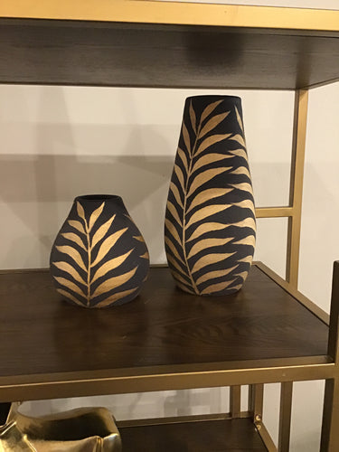 Black & Gold Hand Crafted Leaf Vases Set of 2