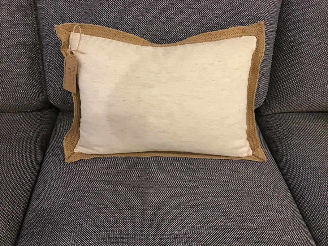 Ivory Linen Espadrille Pillow Rectangular